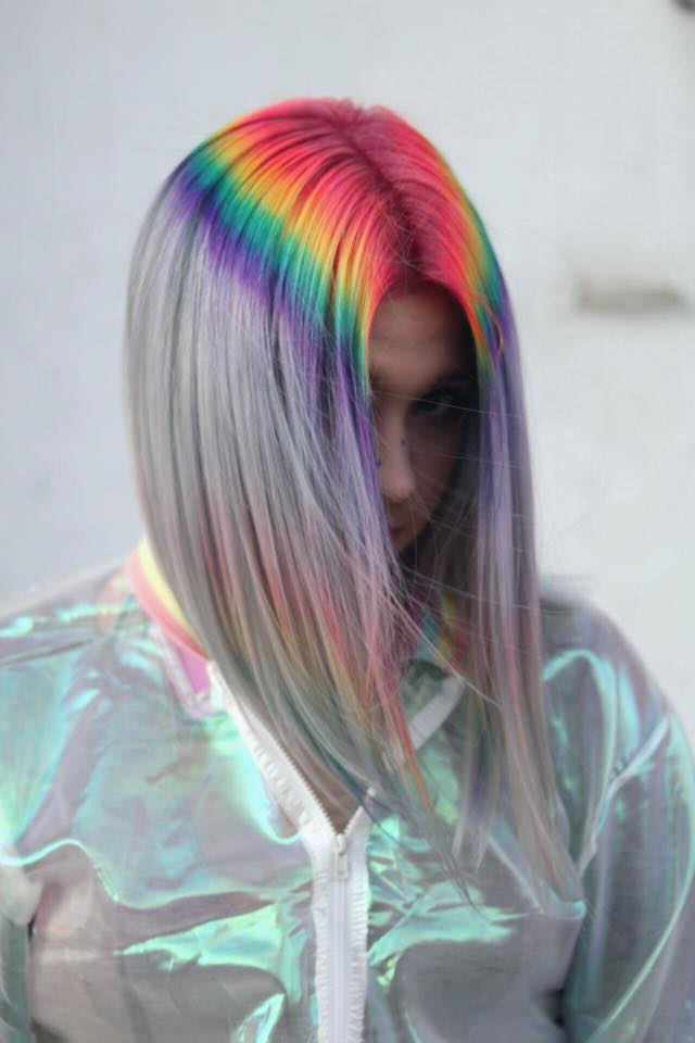 Beauty on the run blog, hair colour, rainbow hair, multicoloured hair, hairstyle